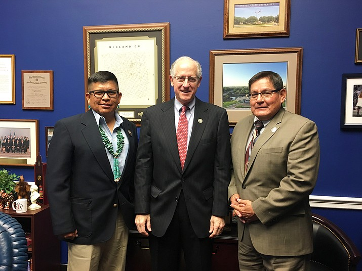 From left: Council Delegate Steven Begay, U.S. Rep. Mike Conaway (R-TX), and Speaker LoRenzo Bates in Washington D.C. Nov. 13.  Submitted photo