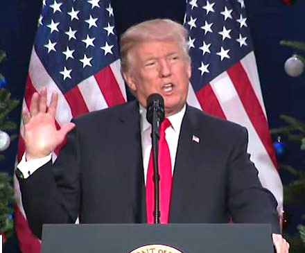President Trump talks tax plan at an event in St. Charles, Missouri in this screen grab for an Associated Press video. Trump has called for more sanctions against North Korea after its latest ICBM test.