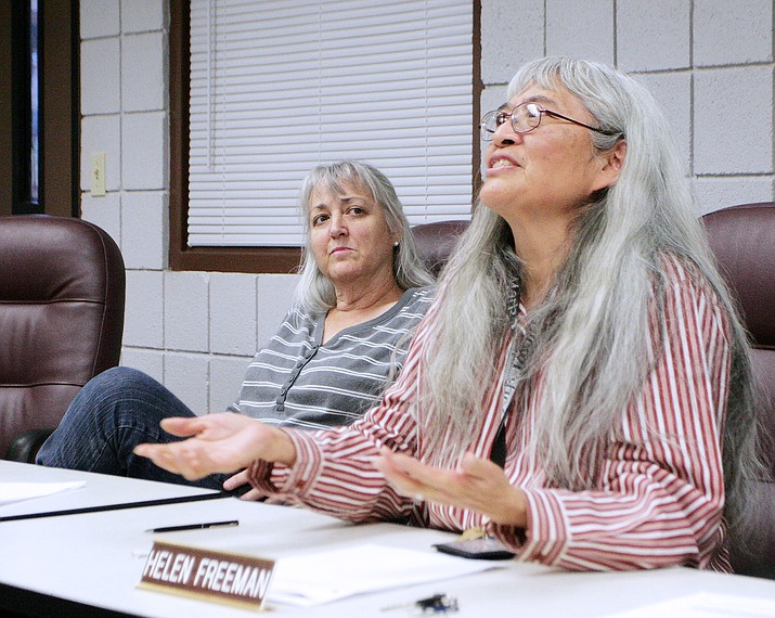"Camp Verde School Board member Helen Freeman, pictured at right, says that the school district's 5th Day Programs should include some sort of ""commitment from the families who participate."" According to CVUSD Board President Christine Schneider, pictured at left with Freeman, the board has charged the school leadership ""to develop and define"" what that personal cost should be, such as time, money or service rendered. (Photo by Bill Helm)"