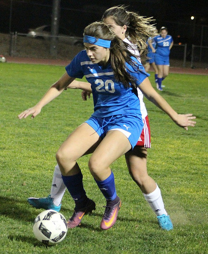 Lilly Garcia (20) and the Kingman High School girls soccer team dropped a 4-0 loss Wednesday at Lake Havasu.