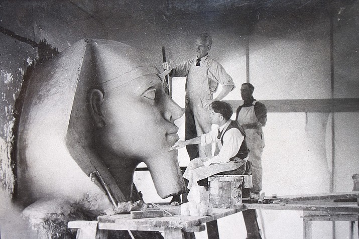"Paramount Studios art staff work on a plaster sphinx for an Egyptian movie set more than 90 years ago for Cecil B. DeMille's epic ""The Ten Commandments."" (Paramount Studios 1923)"