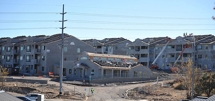 Work has resumed on the 160-unit apartment complex off Willow Creek Road after a long delay. (File photo)
