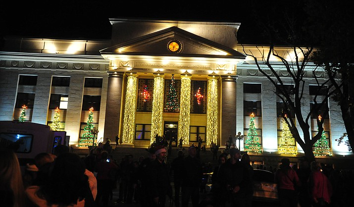 The Yavapai County Courthouose alight during the annual Courthouse Lighting in downtown Prescott Saturday, December 2. (Les Stukenberg/Courier)
