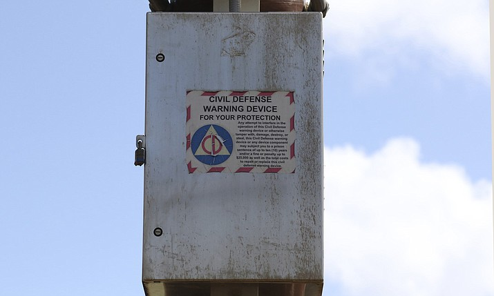 A Hawaii Civil Defense Warning Device, which sounds an alert siren during natural disasters, is shown in Honolulu on Wednesday, Nov. 29, 2017. The alert system is tested monthly, but on Friday Hawaii residents heard a new tone designed to alert people of an impending nuclear attack by North Korea. (AP Photo/Caleb Jones)