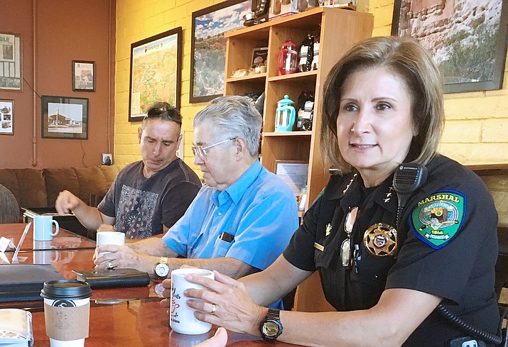 Camp Verde Marshal Nancy Gardner, pictured at right, has been on paid administrative leave since Oct. 23. Monday, Camp Verde Town Manager Russ Martin said that Arizona Department of Public Safety is the independent group reviewing the situation. (Photo by Bill Helm)