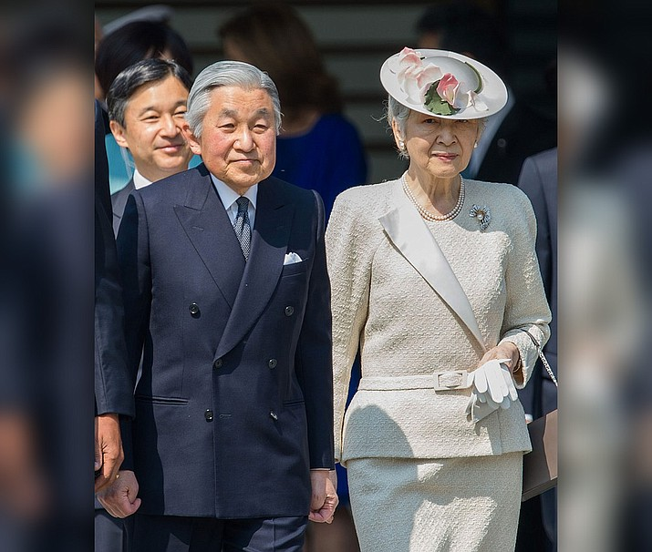 Emperor Akihito and Empress Michiko with Crown Prince Naruhito and Shinzo Abe, Prime Minister, at the Tokyo Imperial Palace in Chiyoda Ward, Tokyo Metropolis on April 24, 2014.