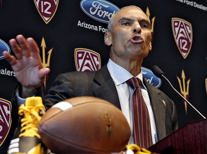 PHOTO: Newly appointed Arizona State college football head coach Herman Edwards speaks during a news conference Monday, Dec. 4, 2017, in Tempe. Edwards, a former NFL head coach and current ESPN analyst will assume the head coach position and serve as football CEO, according to ASU athletic director Ray Anderson. (Matt York/AP)