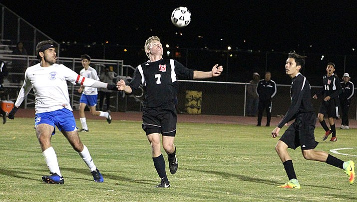 Colby Robles (7) and the Lee Williams High School boys soccer team dropped a 2-1 loss at home to Lake Havasu on Monday.