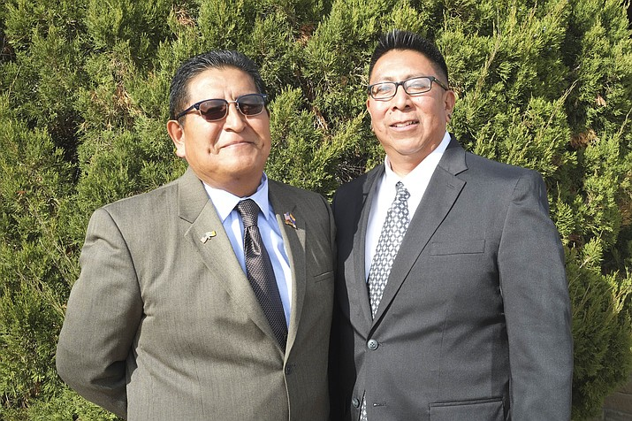 Clark Tenakhongva (left) and Tim Nuvangyaoma were sworn in as the new vice chairman and chairman of the Hopi Tribe Dec. 1 at the Hopi Tribal Offices in Kykotsmovi, Arizona. Loretta Yerian/NHO