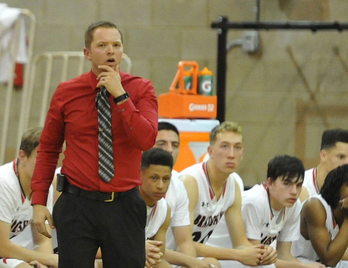 Bradshaw Mountain head coach Matt Simpson looks on as the Bears take on Marcos de Niza on Nov. 28 in Prescott Valley. The Bears earned their first victory of the season with a 52-46 win over Greenway on Wednesday, Dec. 6, 2017, in Phoenix. (Les Stukenberg/Courier, File)