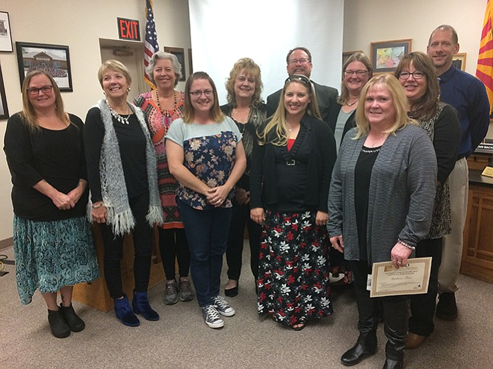Left to right: Chrissy Dolan, Birdie Ferra, Mary Walker, Kristi Spengler, Carla Cornelison, Superintendent Joe Howard, Sara Runyan, Stephanie Grotbeck, Stephanie Boan, Ann Chavez and Dan Tyler.