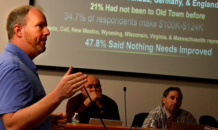 Hezekiah Allen, Parks and Recreation Services Supervisor, presents a statistical analysis of Thunder Valley Rally before Cottonwood City Council Tuesday night.