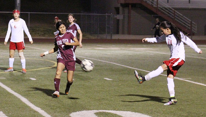Mingus sophomore Marli Urueta scores during the Marauders' 7-0 win over Metro Tech. Urueta scored nine goals and had four assists in the first four games of the season.  (VVN/James Kelley)