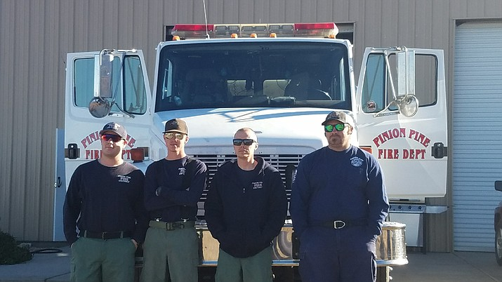 From left to right: firefighter Bryce Todriff, firefighter Lane Brock, engineer and engine boss trainee James Bevins, and Battalion Chief Engine Boss Ron Hood. Resources for Mohave County that were dispatched Friday morning to California are Mohave Valley Fire District, Pinion Pine fire district, Bullhead City Fire Department, Yucca fire district and Beaver Dam Littlefield fire district.