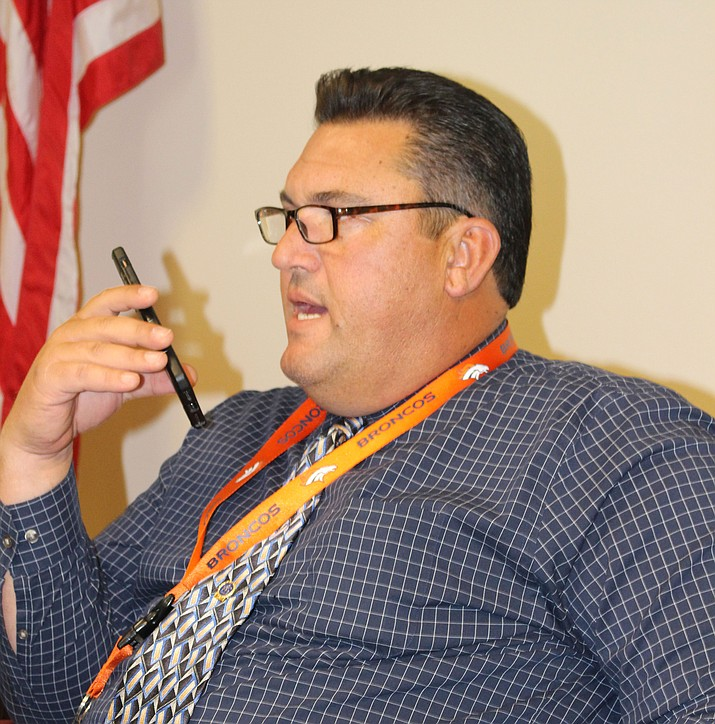 Mohave County Sheriff Doug Schuster, in his office at sheriff's headquarters, said he's accomplished a few things in his first year, but still wants to raise salaries for experienced deputies and form a sheriff's reserve program.