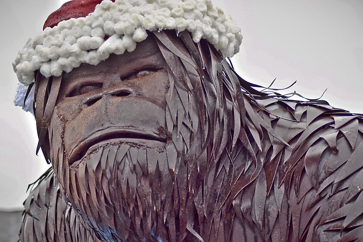 Pictured is an 11-foot, 8-inch metal sculpture of Bigfoot along Route 4 in Whitehall, N.Y. The artist said he got the idea for the statue after meeting people looking for Bigfoot around Whitehall, New York, located on the Vermont border between the Adirondacks and the Green Mountains.(Kathleen Phalen-Tomaselli /Post Star via AP)