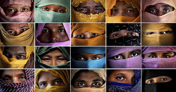 This combo photo comprises of portraits of some of the Rohingya Muslim women taken during an interview with The Associated Press in November 2017 in Kutupalong and Gundum refugee camp in Bangladesh. They said they were raped by members of Myanmar's armed forces. The use of rape by Myanmar's armed forces has been sweeping and methodical. (AP Photo/Wong Maye-E)