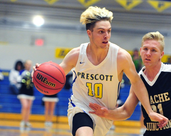 Prescott's Kody Jones (10) drives into the lane as the Badgers take on Apache Junction on Nov. 29 in Prescott. Jones scored 16 points, dished 10 assists and had seven rebounds in a 68-62 win over Flagstaff on Monday, Dec. 11, 2017, in Prescott. (Les Stukenberg/Courier, File)