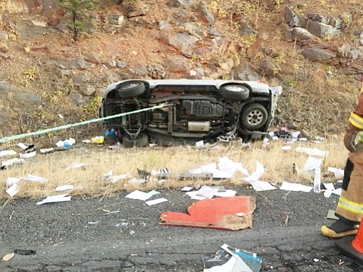 Firefighters respond to a vehicle accident on I-40 Nov. 16. Four people were injured in the wreck.