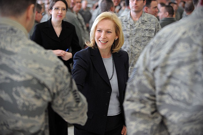 2012 file photo  -  Sen. Kirsten Gillibrand meets members of the 106th Rescue Wing, Westhampton Beach, NY. The back-and-forth between President Donald Trump and Sen. Kirsten Gillibrand on Tuesday came as a wave of sexual misconduct allegations roils Capitol Hill. (Senior Airman Christopher Muncy, U.S. Airforce)