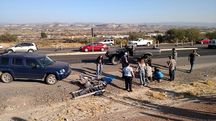 Emergencies crews were on scene at a fatal accident on State Route 260 at Pueblo Ridge near the Chevron gas station in Camp Verde on Thursday afternoon. (VVN/Dan Engler)
