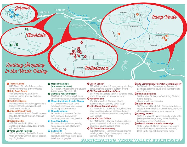 Pick up a free Verde Valley Holiday Shopping Passport at one of the designated locations, and then shop in at least five of the 23 participating businesses to be eligible to win $25-$200 in prizes. (Image courtesy of Local First Arizona)