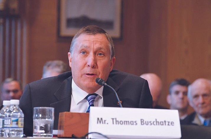 Arizona Department of Water Resources Director Tom Buschatzke, with his name misspelled, spoke to a U.S. Senate panel on Dec. 6 about the Hualapai Tribe's 4,000 acre-feet allocation of Colorado River water.