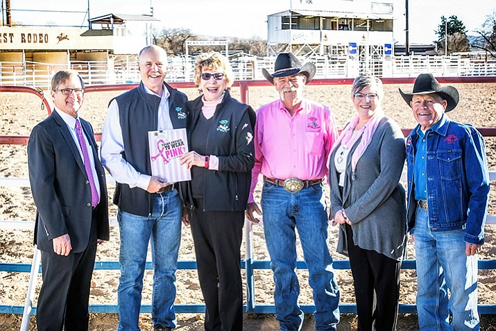 From left in the photo are: John Goodenow, director, YRMC Foundation; Dave Barrett, Vice Chair, YRMC Foundation Board of Directors; Mary Ann Suttles, Program Director, Tough Enough to Wear Pink; Chris Graff, President, Prescott Frontier Days Board of Directors; Mary Sterling, Director, YRMC BreastCare Center; and J.C. Trujillo, General Manager, Prescott Frontier Days Rodeo. (Courtesy)