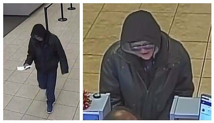 "Surveillance camera photos provided by the Portland Police Bureau shows an unidentified man robbing a bank in Portland. Police in Portland on Friday nicknamed an alleged bank robber the ""Palpatine Bandit"" because of the dark-colored hoodie he wears during bank hold-ups. (Portland Police Bureau via AP)"