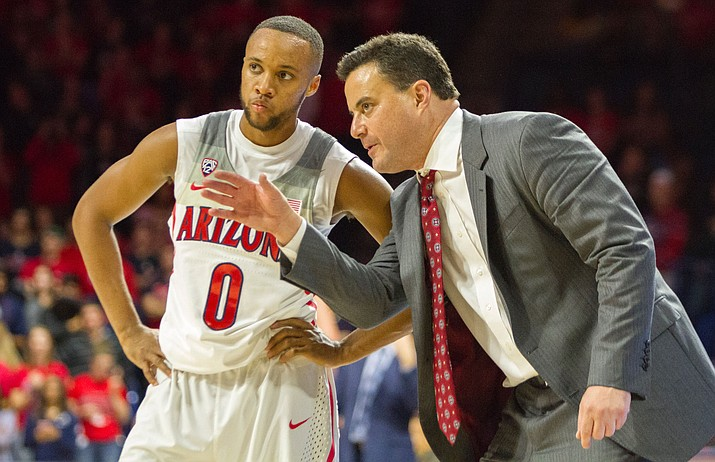Arizona coach Sean Miller coaches junior guard Parker Jackson-Cartwright in the game against the Sacred Heart Pioneers at McKale Center in Tucson on Nov. 18, 2016. (Photo by Jordan Glenn for Arizona Sonora News)