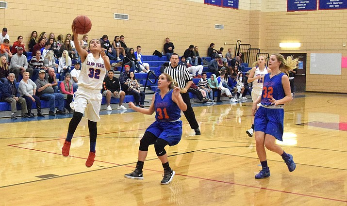 Camp Verde sophomore Amanda Lozanilla lays the ball up during the Cowboys' 47-22 win over Chino Valley. Camp Verde has won five in a row. (VVN/James Kelley)
