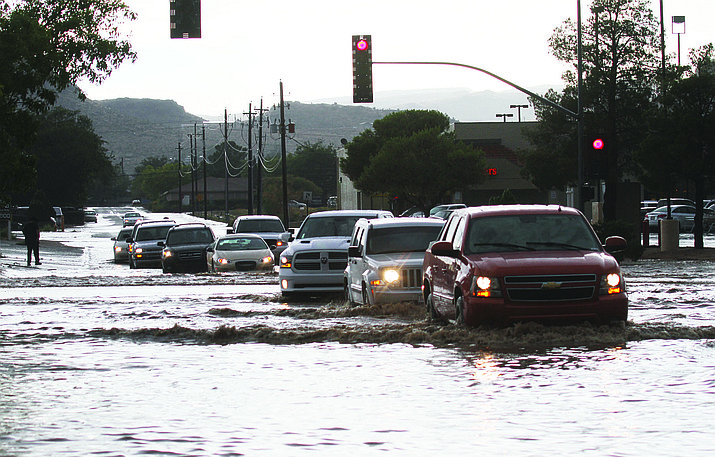 In this file photo from 2013, Stockton Hill Road is massively flooded. Two road improvement projects just off Stockton Hill Road are expected to be approved at today's Council meeting to begin alleviating the issue.