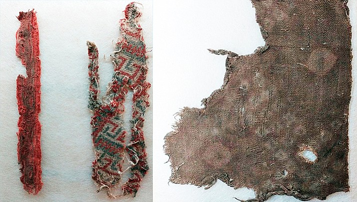 Left photo: This image above includes two artifacts. On the left is the red dyed plain weave with a design applied with a stamp or roller. On the right is the tapestry of blue-gray and red dye on a crème background.  Right photo: This is the dark brown tie-dye pattern of corn kernels or snake skin. (Photos courtesy of Verde Valley Archaeology Center)