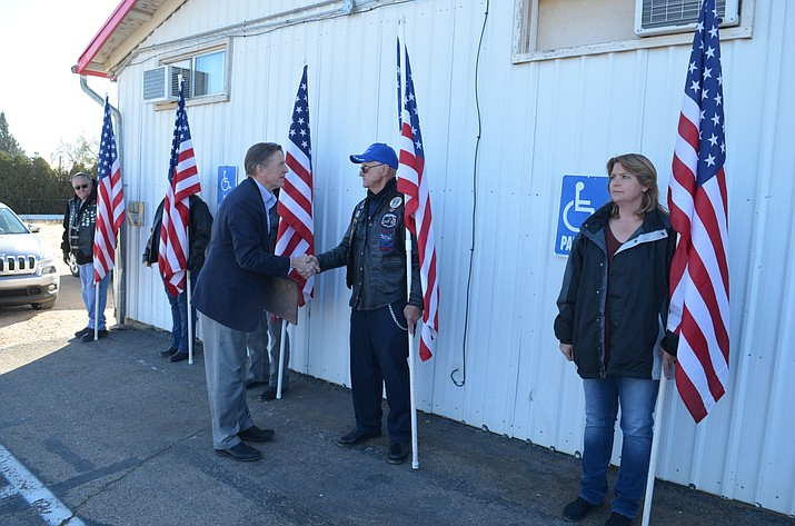 Congressman Paul Gosar greets members of the Kingman Patriot Guard at VFW Post 10386 Friday.