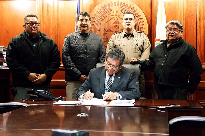 President Russell Begaye is joined by Navajo Nation Department of Emergency Managment Director Harland Cleveland, Vice President Jonathan Nez, Navajo Nation Chief of Police Phillip Francisco and DPS Director Jesse Delmar.  Submitted photo