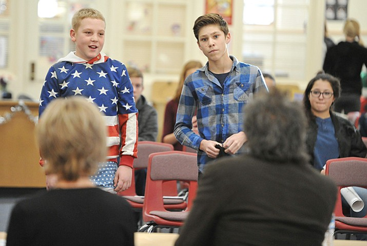 "Landen Francis and Jack Mason present their VOCKS idea to the panel during the first segment of Prescott Mile High Middle School's ""Shark Tank"" Wednesday morning. (Les Stukenberg/Courier)"