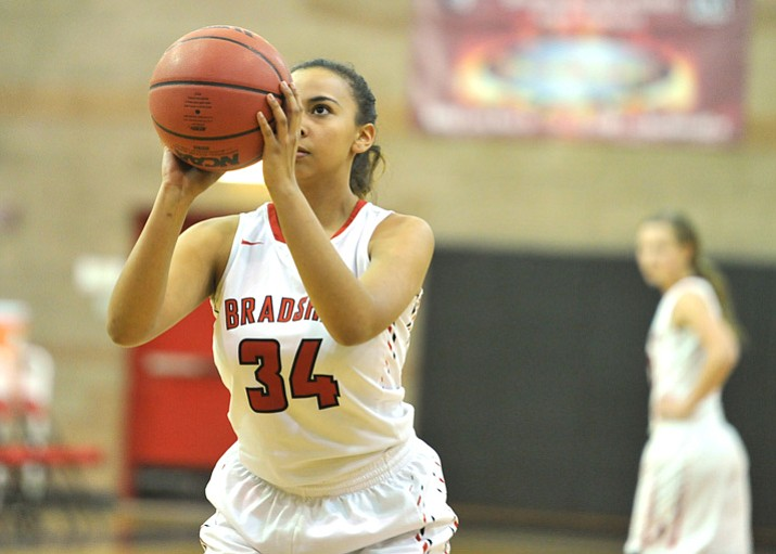 Bradshaw Mountain's Alexis Lara lines up a free throw as the Bears face Greenway on Thursday, Dec. 21, 2017, in Prescott Valley. (Les Stukenberg/Courier)