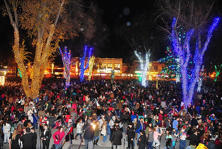Large crowds were on hand for the annual Courthouse Lighting in downtown Prescott Saturday, December 2. (Les Stukenberg/Courier)
