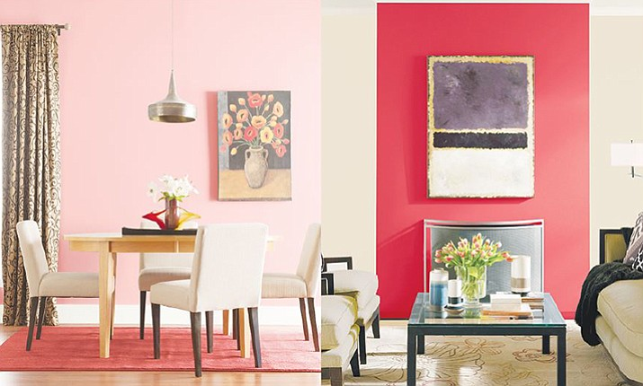Glidden's Coral Beach paint color on the wall of a room, left, is a soothing, warm color that complements both darker and lighter hues. The vibrancy of these type of colors works well in any room. At right, PPG Paints' Red Gumball paint color on the wall of a room packs a stylish punch; use on an accent wall or go all out and do the whole room. (Glidden and PPG Paints via AP)