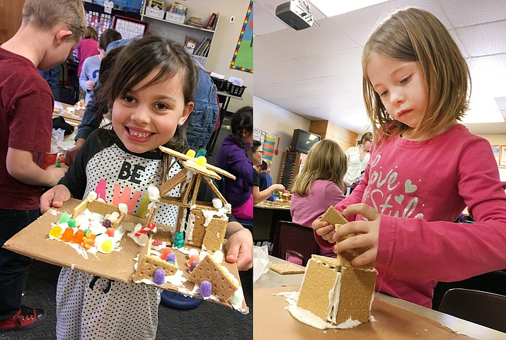 Tuesday, first graders at Beaver Creek School, along with parents and school aides, built a community with graham crackers and various candies. (Photo by Bill Helm)