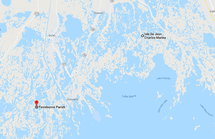 The Times-Picayune and The New Orleans Advocate report that dozens of Isle de Jean Charles residents are to be relocated to the farm in Terrebonne Parish, about 40 miles (65 kilometers) to the northwest. The state is negotiating to purchase the 515-acre (210-hectare) tract. (Google Maps)