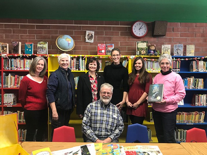 From left, Kari Hull, chairwoman of DWPA; Jo Craycraft, DWPA board member; Toni Denis, Yavapai County Democratic Party chairwoman; Roberta Runyan and April Herzig, fourth-grade teachers at Taylor Hicks School; Val and Larry Meads. (Courtesy)