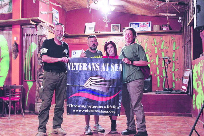 From left to right, Veterans at Sea CEO Charles Black, Restaurante El Taino owner Ricardo Santigo, Catherine Badillo and Veterans at Sea Disaster Response Team Operations Manager Tiffany Theriot. Restaurante El Taino is where Black and crew will be headquartered during relief efforts.
