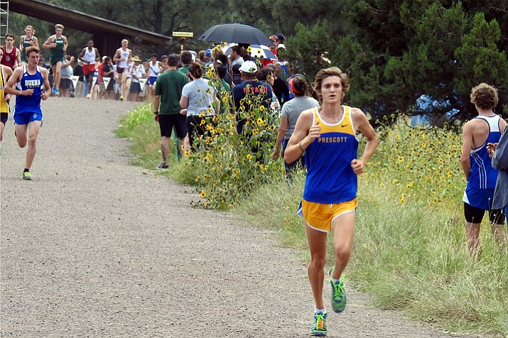 Prescott's Matthew Bradley runs in the Peaks Invitational on Saturday, Sept. 2, 2017, in Flagstaff. Bradley is our 2017 Fall All-Courier Runner of the Year. (John Bradley/Courtesy, File)