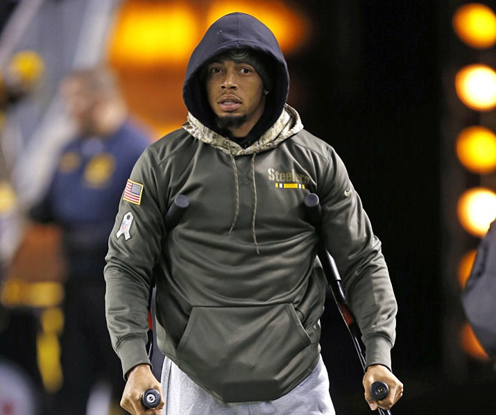 In this Nov. 16, 2017, file photo, Pittsburgh Steelers cornerback Joe Haden walks with crutches before a game against the Tennessee Titans in Pittsburgh. Haden could be ready this weekend after missing more than a month with a fractured left leg. (Keith Srakocic/AP, File)