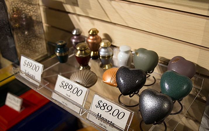 At Wyman Cremation & Burial Chapel in Mesa, people can purchase small urns, also known as tokens, if family members wish to divide their loved one's ashes. (Maddy Ryan/Cronkite News)