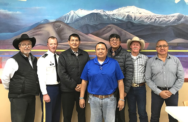 From left: Council Delegate Benjamin L. Bennett, U.S. Army Corps of Engineers Col. Kirk E. Gibbs, Navajo Nation Vice President Jonathan Nez, Council Delegate Alton Joe Shepherd, Council Delegate Walter Phelps, Coconino County District 4 Supervisor Jim Parks, and Director of Tribal Engagement for Congressman Tom O'Halleran Jack Jackson, Jr. at Leupp Chapter House Dec. 6. Submitted photo