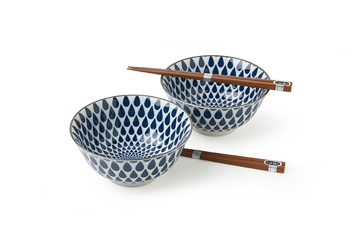 Bowls from Miya Company. Indigo blue raindrops create a pleasing geometric pattern on bowls that can be used for rice, cereal or soup. (Miya via AP)
