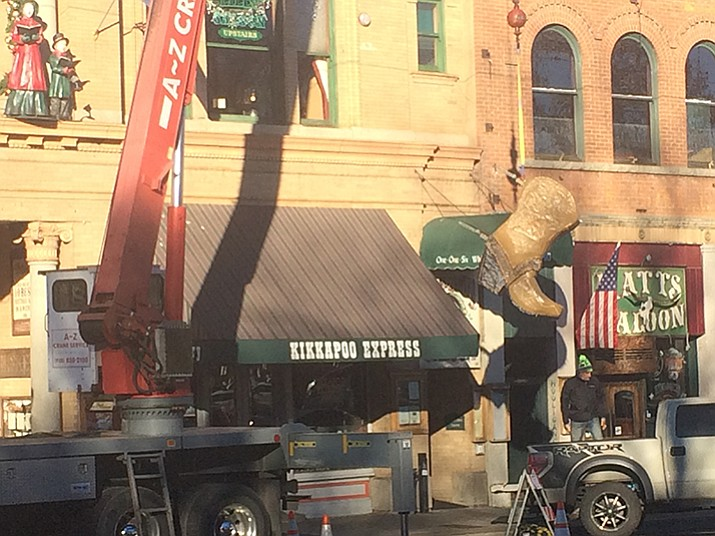 The process to put the boot in place for the seventh annual Whiskey Row Boot Drop begins on Thursday, Dec. 29 right outside the Palace Saloon. (Jason Wheeler/The Daily Courier)