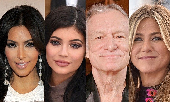 For celebrities, from left, Kim Kardashian, Kylie Jenner, Hugh Hefner, and Jennifer Aniston were among the top most searched in Yavapai County in 2017.